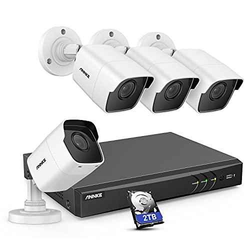 ANNKE 8CH 4K DVR con 2TB HDD, H.265 + kit de cámara para exteriores, Kit de cámaras de vigilancia de 5MP, visión nocturna de 100 pies, detección de movimiento y acceso remoto