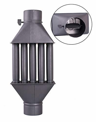 Abgaswärmetauscher Warmlufttauscher Rauchgaskühler 130mm schwarz Rauchrohr Ofenrohr Kaminrohr Energie sparen Leichte Reinigung Einfacher Einbau Abgasrohr 5 Rohre Dämpfer aus Stahlblech