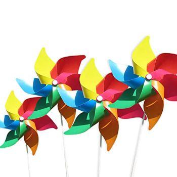 (Pack de 4) moulins à vent colorés comme un cadeau pour les enfants à jouer, ou comme une décoration délicate pour les jardins d'enfants, les jardins, les chambres d'enfants, les fêtes ou les vitrines