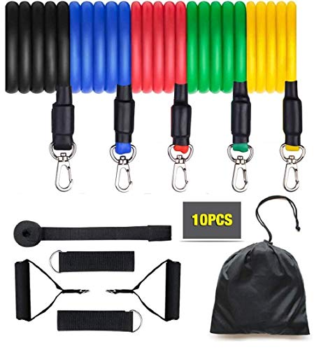 INCPIXEL 11 in 1 Resistance Bands Tube for Exercise, Gym &Home Workout for Chest, Arm, Shoulder, Back and Strecthing Pulling Toning Tubes for Men and Women.