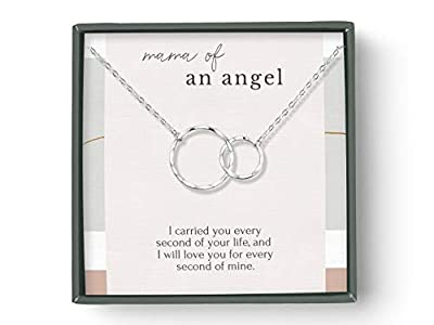 Beautiful mama of angel sympathy necklace she can wear close to her heart A sentimental keepsake symbolizing our love for a baby in heaven All components are made with precious metal: choose from sterling silver or 14K gold vermeil. Comes with jewelr...
