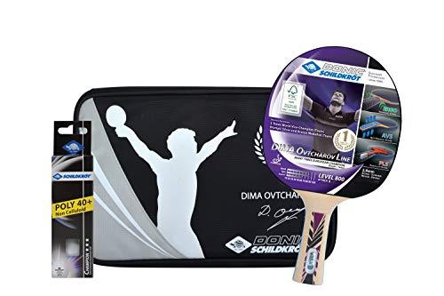 Donic-Schildkröt Set Tischtennis Geschenkset OVTCHAROV 800 FSC 1 Schläger 3 Bälle Hülle