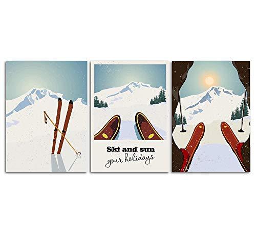 SHINERING Sports d'hiver Ski Art Impression Affiche Toile Peinture, Voyage...