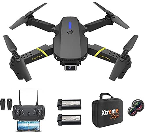 XTREME STYLE Mini drone XS89FPV-PRO con fotocamera 4 K zoom D 50x 2 batterie, 30 minuti di volo 150 m. Pieghevole e elegante quadricottero RC per bambini e principianti.