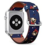 Pug Dog with Scarf - Patterned Leather Wristband Strap Compatible with Apple Watch Series 4/3/2/1 38mm/40mm