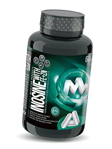 INOSINE | 60 Kapseln = 30 Tage / 30 Portionen | Hochdosiert mit Zink, Vitamin C und Eisen | Muskelaufbau | Innovative und potente Alternative zu Kreatin |
