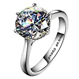 4ct Round Brilliant Nscd Sona Simulated Diamond Solitaire Wedding Engagement Ring - Finger Size 4-10
