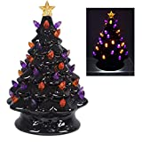 youngs 80393 Ceramic Black Halloween Tree with Lights, 5-inch Diameter