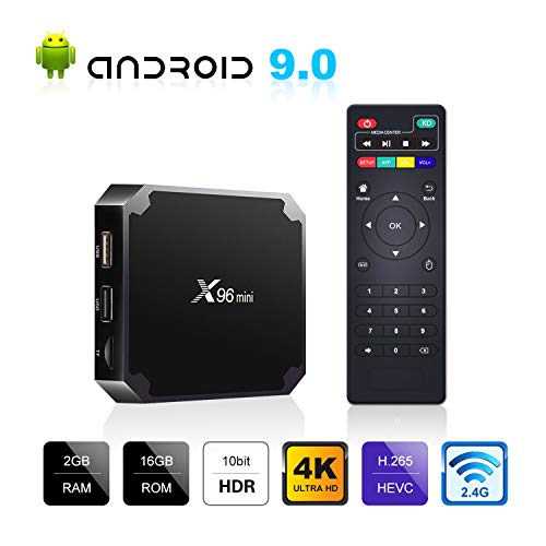 Android 9.0 TV Box, X96 Mini Android TV Box 2GB RAM 16GB ROM, 2.4G WiFi 3D 4K H.265 Ultra HD H.265 HDR Android Box