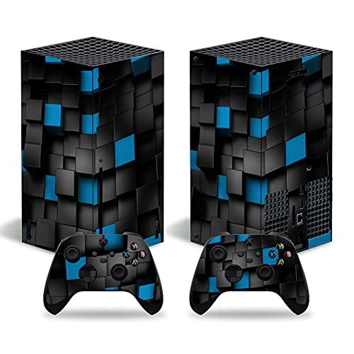 FOTTCZ Vinylfolie für Xbox Series X Konsole und Controller, Aufkleber zum Schutz der Xbox Series X Geräte – Schwarz-blaue Quadrate