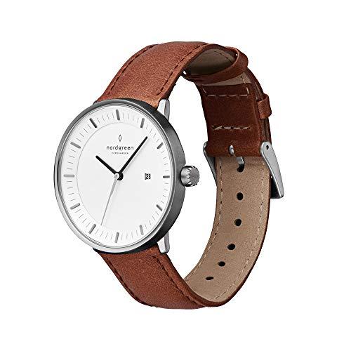 Nordgreen Philosopher skandinavische Herrenuhr in Anthrazit mit weißem Ziffernblatt und austauschbarem 40mm Leder Armband Braun 10007
