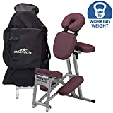 STRONGLITE Portable Massage Chair Ergo Pro II - Ultra-Strong, Lightweight, Folding Tattoo Spa Massage Chair with Wheels & Carry Case (600lbs Working Weight), Burgundy