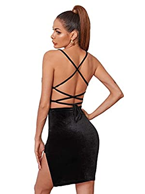 Velvet dress is made of stretchy and soft material Feature with criss cross, split hem, tie back, open back, above knee length Great for party, cocktail, dinner date, prom, wedding, nightout and club Keep this formal dress with high heels and additio...