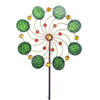 CIM Exotic Flower Samoa - Moulin à Vent de Jardin en métal à roulement à Billes Résistant aux intempéries avec Tige de Support 3 pièces Ø 34 cm Hauteur Totale : 122 cm