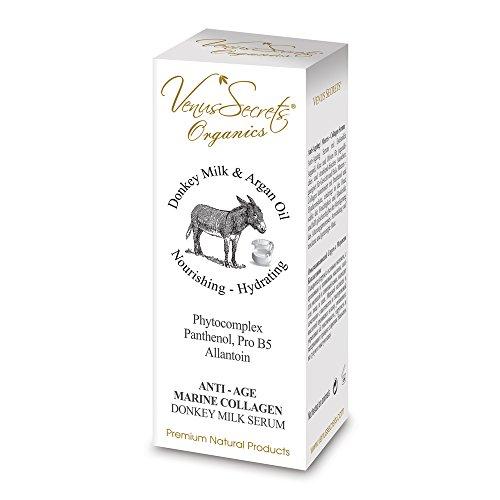 Naturkosmetik Anti Aging Kollagen Serum mit Eselsmilch, Arganöl, Aloe und Oliven für Jugendliches und Srahlend-frisches Aussehen, Geeignet für Gesicht und Hals | 40ml
