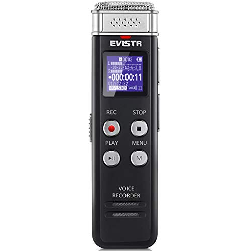 EVISTR 16GB Digital Voice Recorder Voice Activated Recorder with Playback - Upgraded Small Tape Recorder for Lectures, Meetings, Interviews, Mini Audio Recorder USB Charge, MP3
