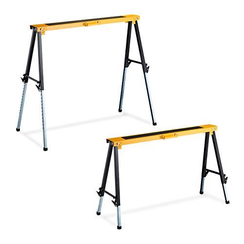 Relaxdays Klappbock, 2er Set, faltbarer Gerüstbock, bis 250kg, Griff, 12-fach höhenverstellbar 64-91,5cm, schwarz-orange