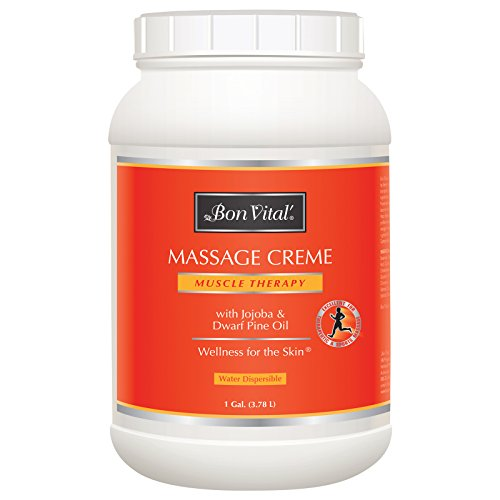 Bon Vital' Muscle Therapy Massage Crème, Professional Massage Cream with Dwarf Pine Oil & Essential Oils for Relaxation & Sore Muscle Relief, Deep Tissue & Sports Massage Techniques, 1 Gallon Jar