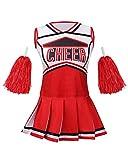 yolsun Cheerleader Costume for Girls Halloween Cute Uniform Outfit (120, Red)