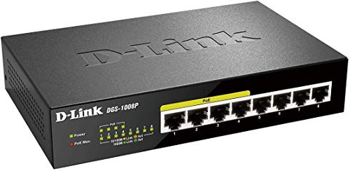 D-Link DGS-1008P Switch 8 Porte 10/100/1000 Gigabit, Power Over Ethernet, No Alimentazione Aggiuntiva