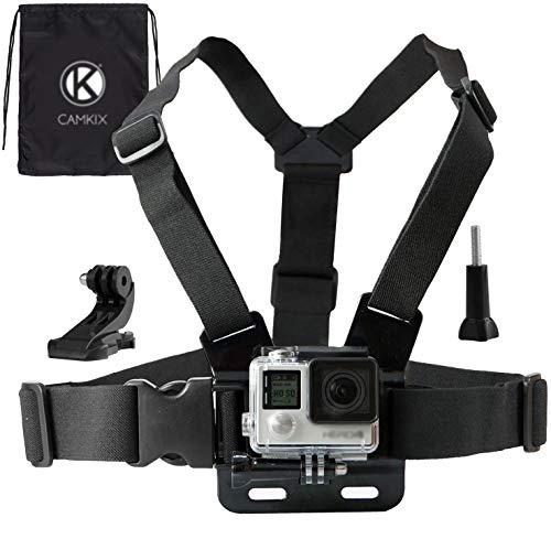 CamKix Imbracatura compatibile con GoPro / Imbracatura torso regolabile compatibile con Gopro Hero 8 Black, 7, 6, 5, Black, Session, Hero 4, Session, Black, Silver, Hero+ LCD, 3+, 3, 2, 1, DJI Osmo Action - 1 Gancio a J, 1 Vite a Galletto, 1 Borsa con chiusura a cordoncino CamKix inclusi