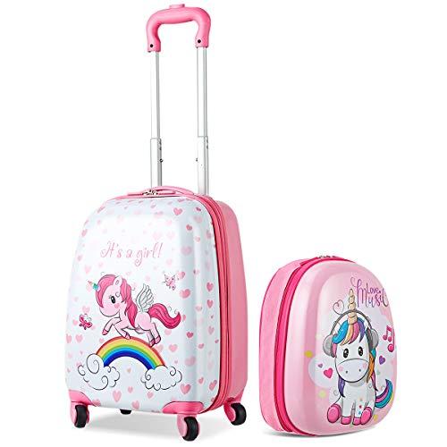 COSTWAY Set di Valigia Trolley per Bambini + Zaino, Bagaglio a Mano, con Ruote Girevoli a 360 ,...