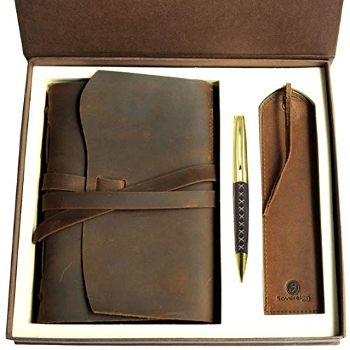 Leather Journal Gift Set with Antique Leather Bookmark + Pen, Handmade Writing Notebook 8x6 Inches Unlined Leather Bound Daily Notepad For Men For Women, Best Luxury Gift Box Travel Diary for all ages