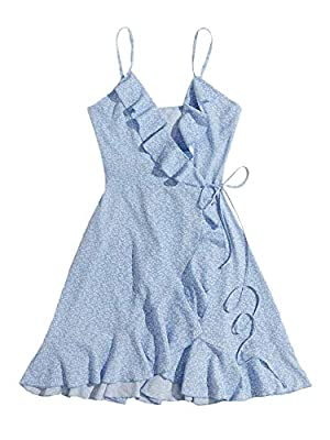 Spaghetti strap, surplice neck, sleeveless, boho fit and flare slip dress Ruffle trim, knot side, ditsy floral print, casual high waist mini sundress Soft and comfy fabric, no stretch Suitable for beach, picnic, holiday, daily life, outing, lounge, s...