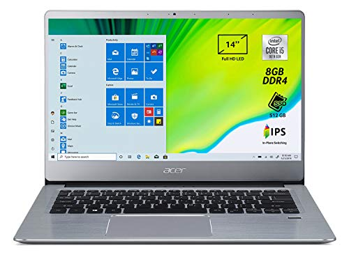 Acer Swift 3 SF314-58-56JC Notebook Portatile, Intel Core i5-10210U, 8 GB DDR4, 512 GB PCIe NVMe SSD, Display 14' FHD IPS LED LCD, Scheda Grafica Intel UHD, Windows 10 Home, Silver