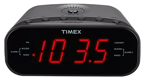 Timex T231GY AM/FM Dual Alarm Clock Radio with 1.2-Inch Red Display and Line-In Jack (Gunmetal)