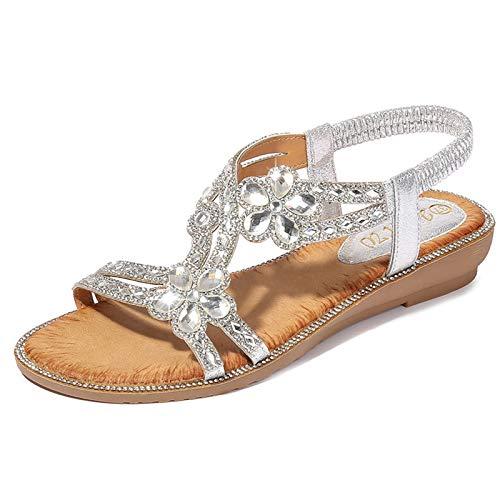 AHSZR Sandalias Mujer Plataforma Verano Cuña Zapatos de Tacón Sandalias Grande Bohemia Pedrería de Flores Sandalias Alpargatas Zapatos de Playa Sandalias,Plata,39
