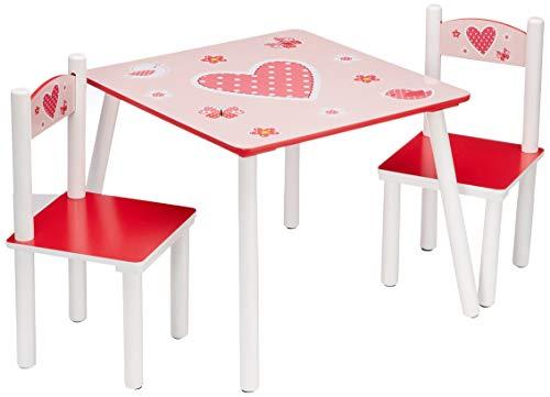 Kesper 17722 1 Tavolo per bambini con 2 sedie, design: Cuori, MDF laccato, FSC, Rosa (Rosa)