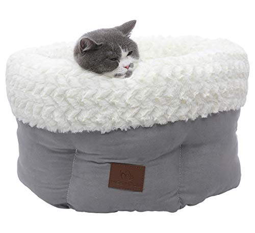 "Miss Meow Round Self-Warming Deep Sleep Faux Suede Cat Dog Pet Bed 16""x16""12"" Gray"