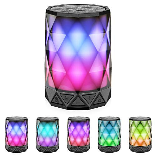LED Light Bluetooth Speakers with Lights, LFS Night Light Wireless Speakers, Multi-Color Changing Diamond Shape Speaker, Built-in Mic,TF Card TWS Supported, for iPhone Samsung Gaming PC (Multi)