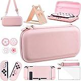 OLDZHU Kit accessori 10 in 1 per custodia da viaggio rosa compatibile con Nintendo Switch,Include Cover Protettiva Rosa,Supporto regolabile,Pellicola Protettiva HD,4 Copri Levette Analogiche