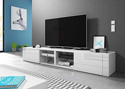 VIVALDI Mobile porta TV - HIT 2 DOUBLE - 200 cm - Bianco Opaco/Bianco Lucido - Stile Design