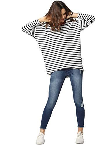 ONLY Damen onlELCOS 4/5 AOP TOP JRS NOOS Pullover, Mehrfarbig (Cloud Dancer Stripes: Stripes), 38 (Herstellergröße: M)