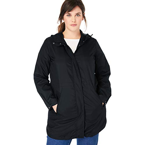 Woman Within Women's Plus Size Packable Anorak Raincoat - 18 W, Black