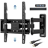 Full Motion TV Wall Mount Bracket with Level & Height Adjustment,Tilts and 90 ° Rotation Single...