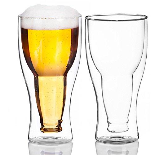 Bicchiere da birra in vetro a doppia parete, disegno interno con bottiglia di vetro rovesciata,...