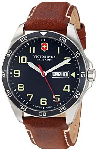 Victorinox Men's Fieldforce Stainless Steel Analog Quartz Watch with Leather Strap, Brown, 21 (Model: 241848)