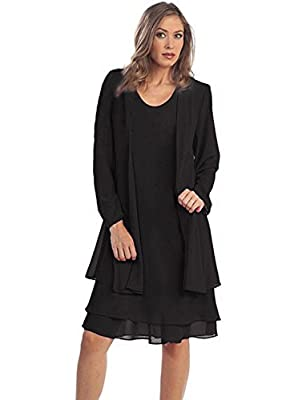 Two-piece set with sleeveless dress and long-sleeve jacket About the homecoming dress: Sleeveless, scoop-neck, above knee, with lining About the jacket: Long sleeves, open front, semi see-through, can used as beach sunscreen, thin capes for spring, s...