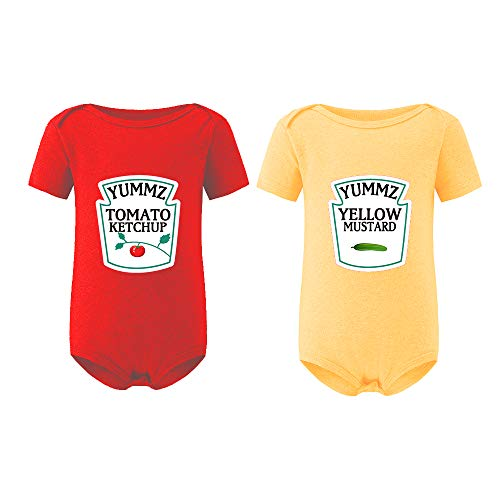 YSCULBUTOL Baby Bodysuit Ketchup Mustard Funny Baby Twins Outfits Baby Girl Twins Set(ShortKM S6M)