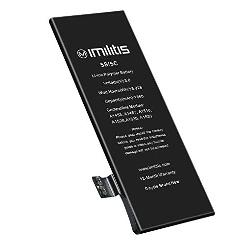 IMILITIS Replacement Battery for iPhone 5s 5c No Tools - 1560mAh High Capacity 0 Cycle USA TI Chip - Adhesive & Instructions Included - Model A1453|A1457|A1518|A1528|A1530|A1533-18 Months Warranty