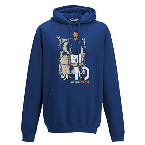 KiarenzaFD Felpa Cappuccio Calcio Amarcord Vintage Divin Codino Glory Italia Azzurri L Royal