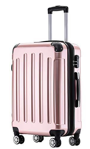 BEIBYE Hartschalen Koffer Trolley Rollkoffer Reisekoffer 4 Zwillingsrollen Polycabonat (Rosa Gold, Handgepäck 55cm-40L)