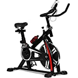 Exercise Bike Recumbent Cycling Bike Indoor Cycle Stationary Workout Equipment with Pulse W/LCD Display and Adjustable Foot for Home Office (Black)