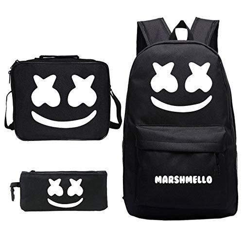 Zaino DJ M-ars-h-m-ell-o + borsa per il pranzo + astuccio per la scuola nero in tre pezzi-Modello 1_Abito a tre pezzi