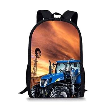 Moulin à Vent 3D et Grand modèle de Tracteur Sac a Dos Ecole,Cartable,Cartable garçon,Cartable Femme,Sac Voyage,Sac Enfant