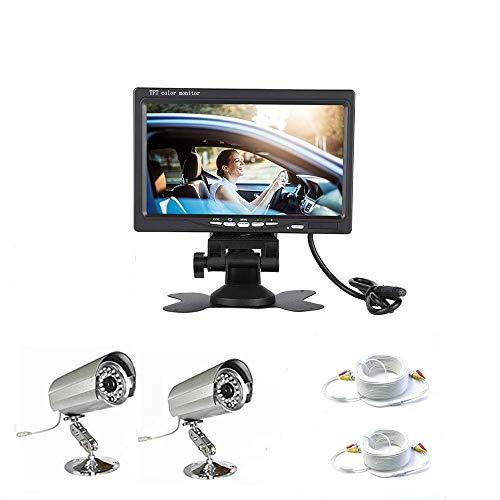 081 Store - KIT VIDEOSORVEGLIANZA COMPLETO - 2 TELECAMERE + MONITOR 7 POLLICI AV1 AV2 VIDEO DISPLAY + 2 CAVI 20 METRI